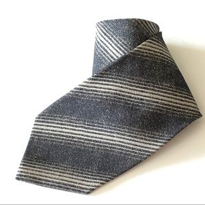 Giorgio Armani Silk Necktie Black Stripe Pattern